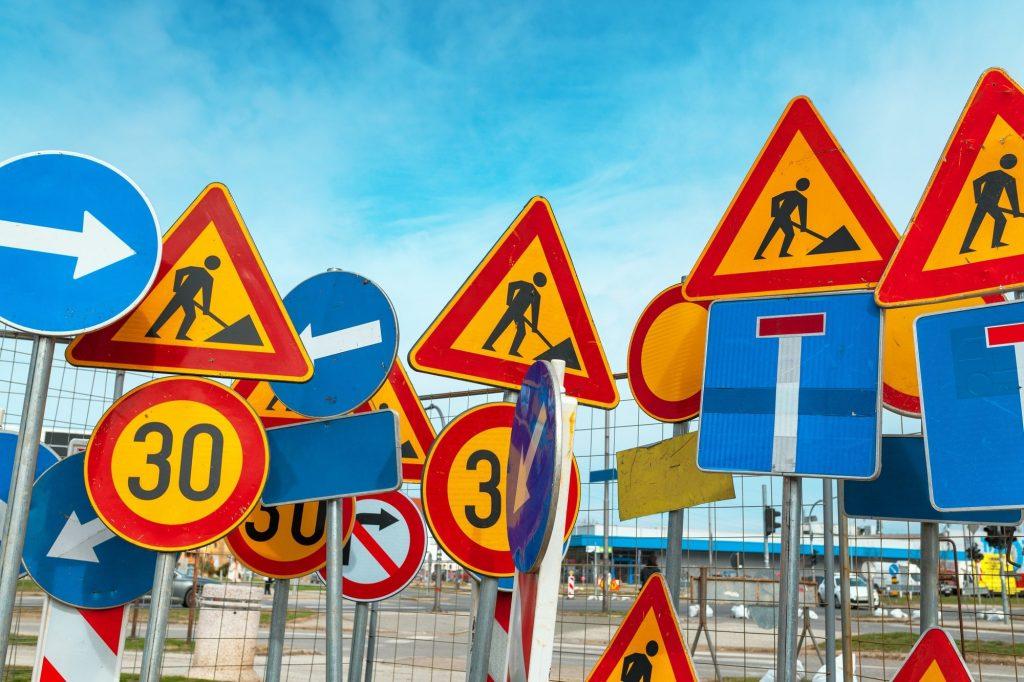 Panneau de signalisation chantier