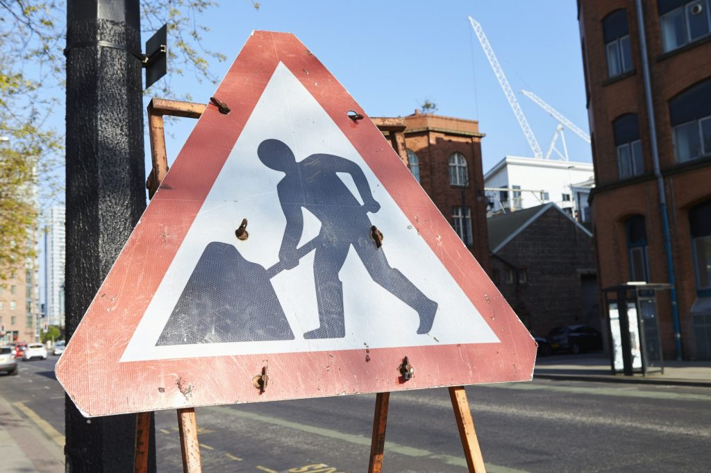Manchester, UK - 10 May 2017: Warning Sign At Road Works On Manchester Street