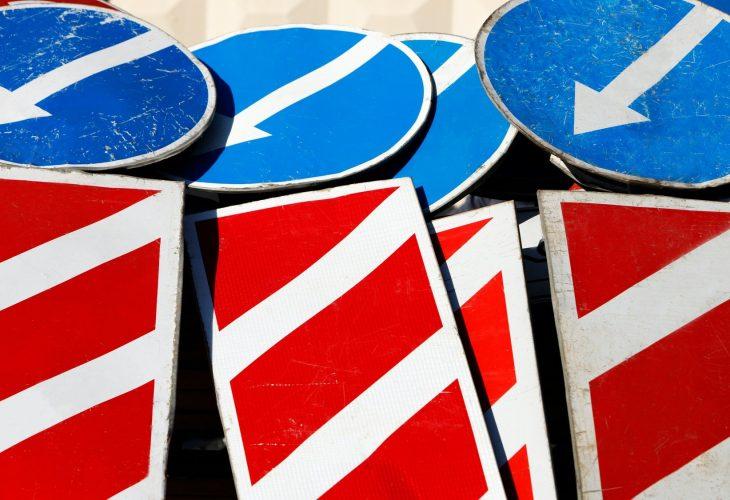 work signs pointers during road repair