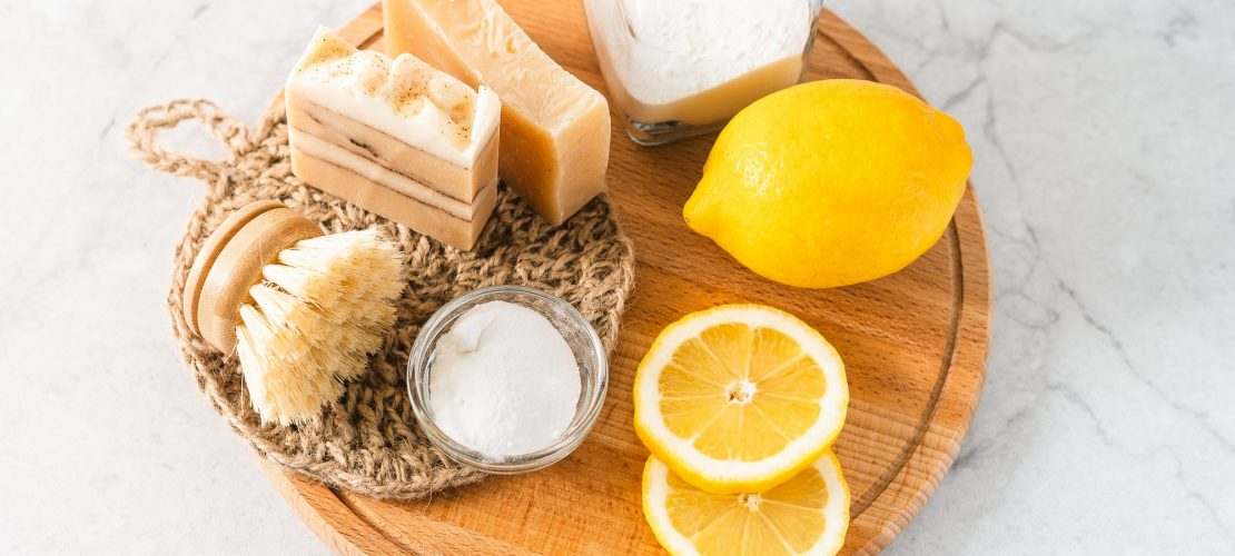 Ingredients for natural organic cleaning products.