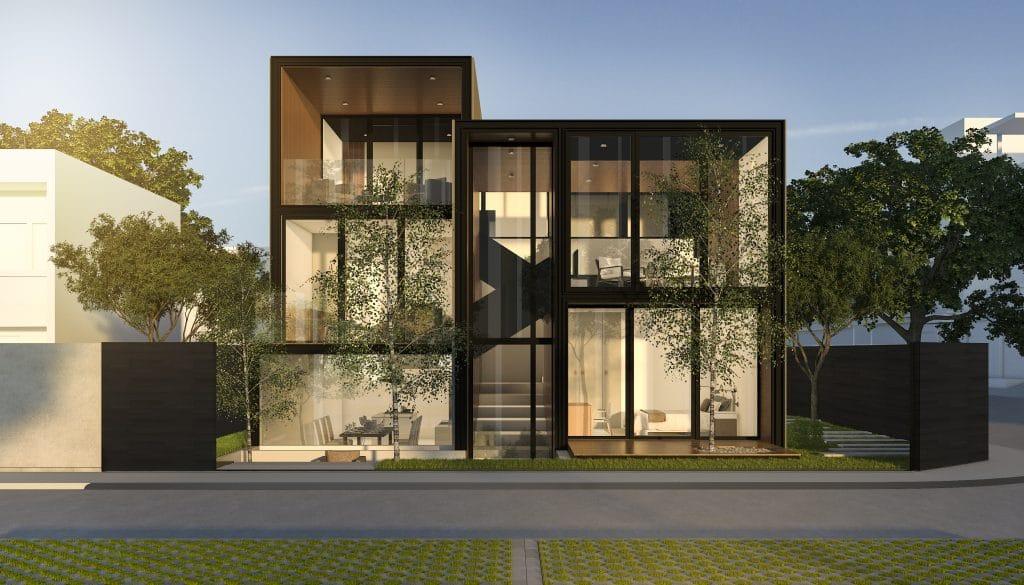 Maison en verre moderne en crépi noir en été